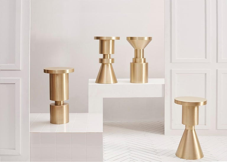 Plated Counter Height Chess Stool, Style A by Anna Karlin For Sale