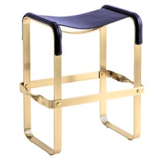 Kitchen Counter Stool Aged Brass Steel & Blue Navy Leather, Contemporary Design