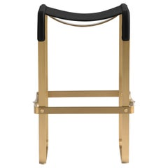 Kitchen Counter Stool, Aged Brass Steel and Black Leather, Contemporary Design