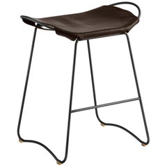 Counter Stool Black Steel and Brown Leather, Modern Style, Hug Collection