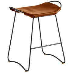 Kitchen Counter Stool Black Steel and Natural Tobacco Leather, Modern Style,