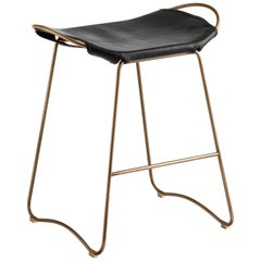 Kitchen Counter Stool Brass Steel & Black Saddle Leather, Kitchen Modern Style