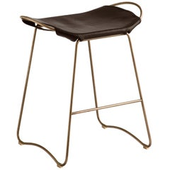 Counter Stool Brass Steel and Dark Brown Leather, Modern Style, Hug