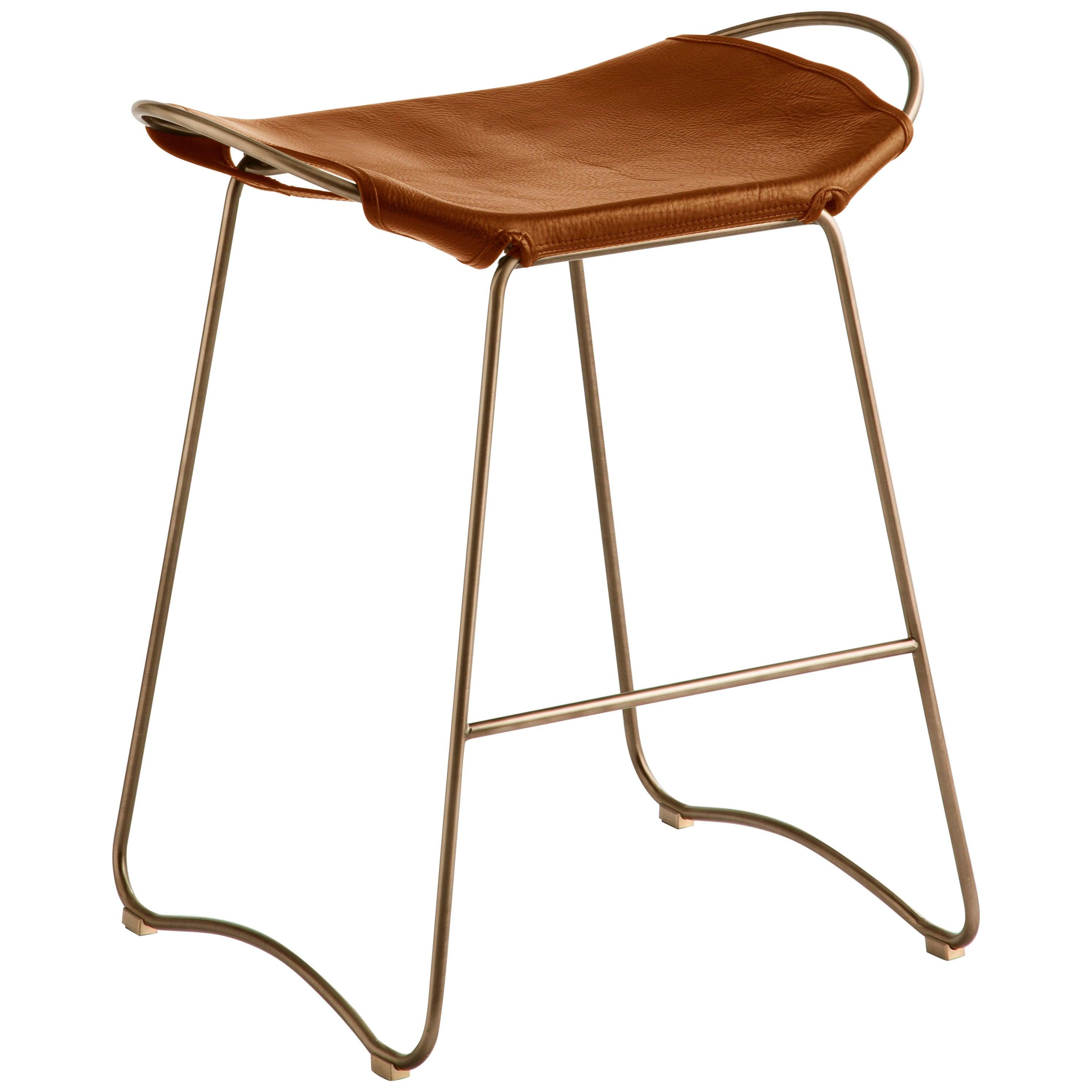 Kitchen Counter Stool Brass Steel & Tobacco Leather, Contemporary Modern Style