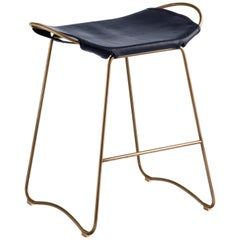 Kitchen Counter Stool Brass Steel & Navy Leather Contemporary Modern Style