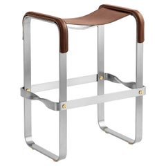Counter Stool, Contemporary Design, Old Silver Steel and Dark Brown Leather