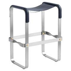 Counter Stool, Contemporary Design, Old Silver Steel and Navy Blue Leather