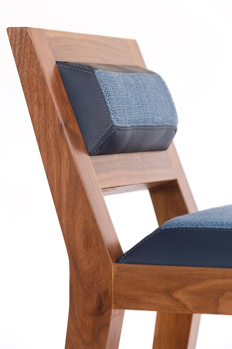 Counter Stool in Bleached Solid Walnut with Leather and Fabric Upholstered Seat For Sale 4