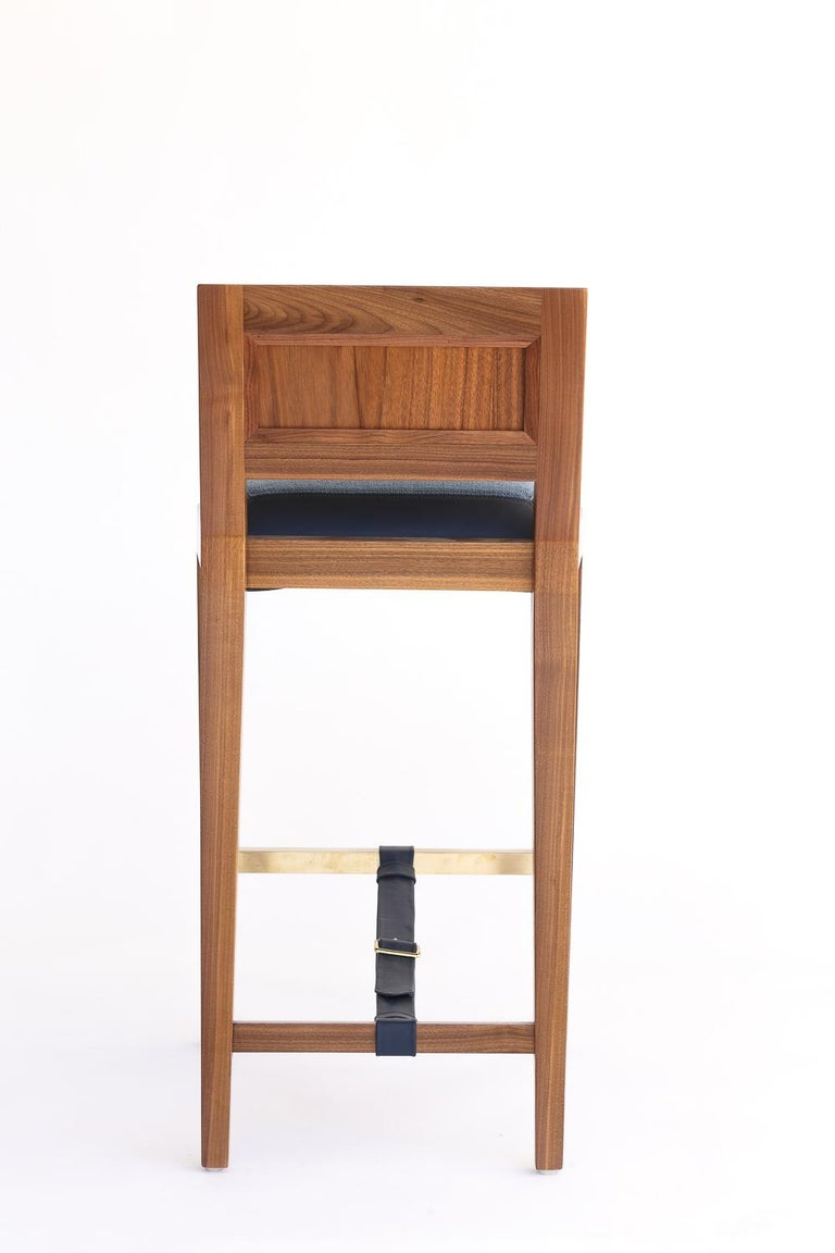 Contemporary Counter Stool in Bleached Solid Walnut with Leather and Fabric Upholstered Seat For Sale