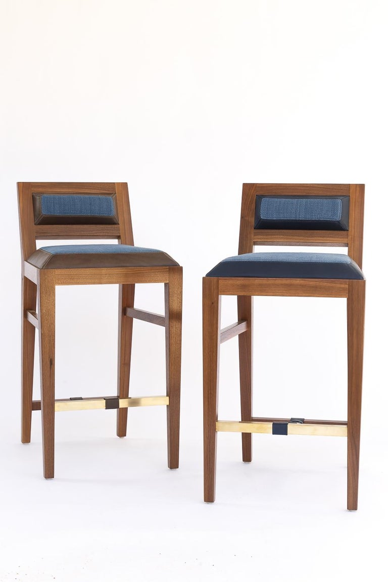 Counter Stool in Bleached Solid Walnut with Leather and Fabric Upholstered Seat For Sale 1