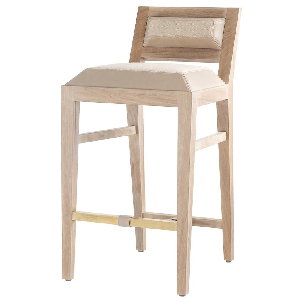 Counter Stool in Bleached Solid Walnut with Leather and Fabric Upholstered Seat
