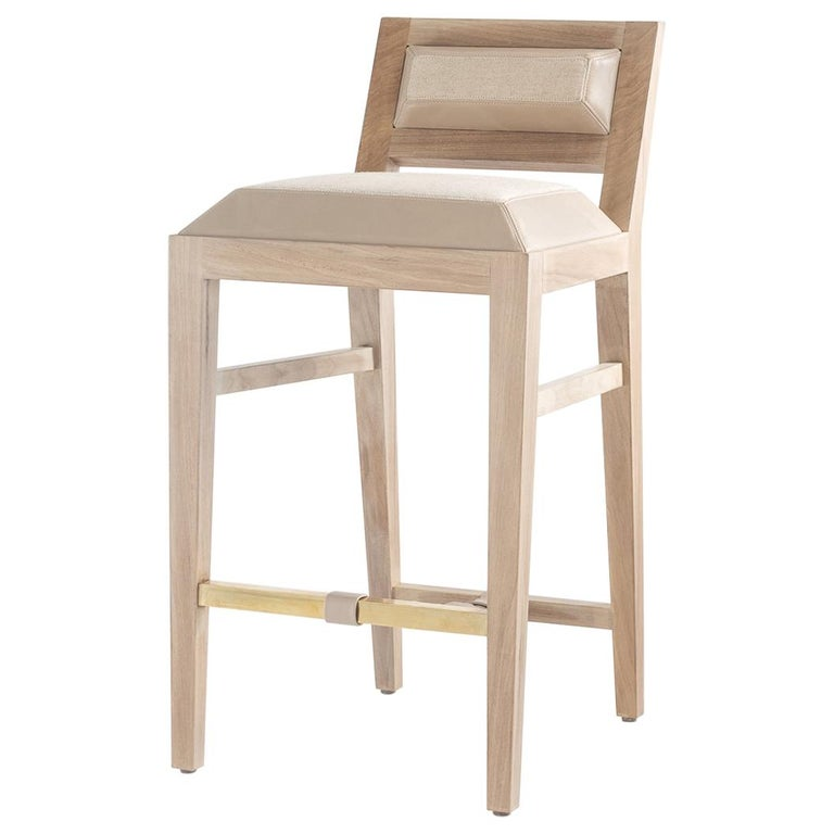 Counter Stool in Bleached Solid Walnut with Leather and Fabric Upholstered Seat For Sale