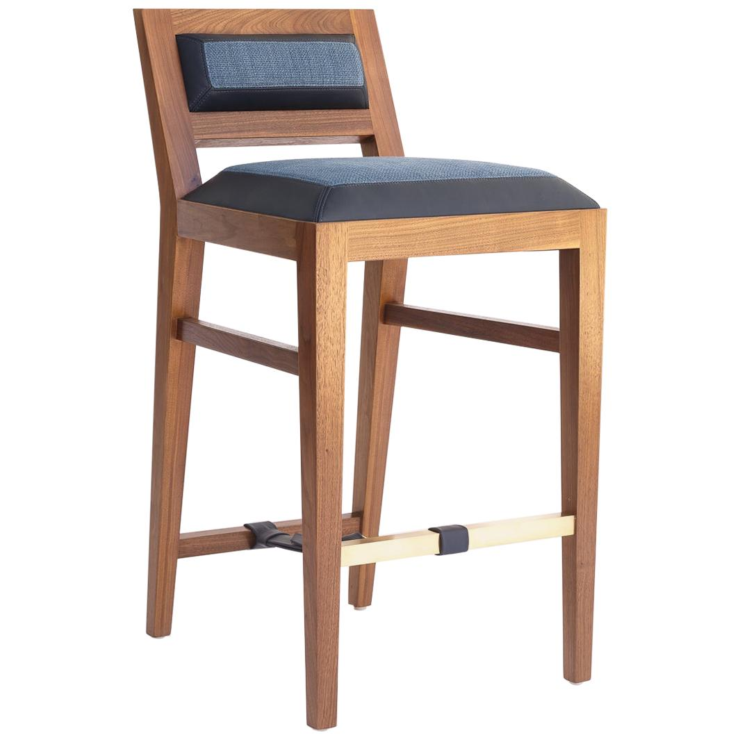 Counter Stool in Solid Walnut with Leather and Fabric Upholstered Seat