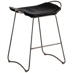 Counter Stool, Silver Steel and Black Saddle Leather, HUG COLLECTION