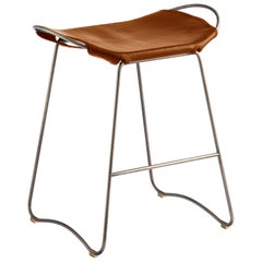 Counter Stool Silver Steel and Natural Tobacco Leather, Modern Style, Hug