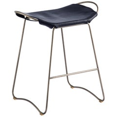 HUG Counter Stool Old Silver Steel and Vegetable Tanned Navy Saddle Leather