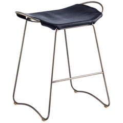 Counter Stool, Silver Steel and Blue Saddle Leather, Modern Style, Hug