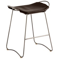Counter Stool Silver Steel and Dark Brown Leather, Modern Style, Hug Collection