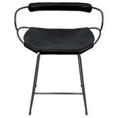 Kitchen Counter Stool with Backrest Black Smoke Steel and Black Saddle Leather