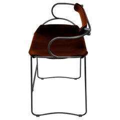 Kitchen Counter Stool with Backrest Black Smoke Steel and Cognac Saddle Leather