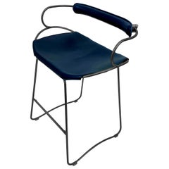 Kitchen Counter Stool with Backrest Black Smoke Steel and Navy Saddle