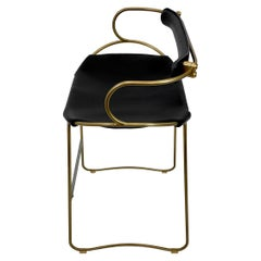 Kitchen Counter Stool with Backrest Brass Steel and Black Saddle Leather