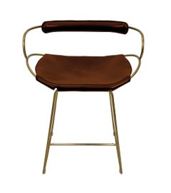 Kitchen Counter Stool with Backrest Brass Steel and Cognac Saddle Leather
