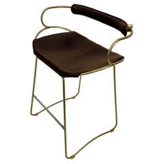 Kitchen Counter Stool with Backrest Brass Steel and Dark Brown Saddle Leather