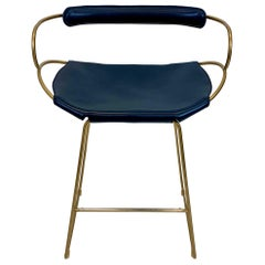 Counter Stool with Backrest Brass Steel and Navy Saddler Leather