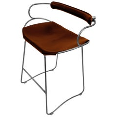 Kitchen Counter Stool with Backrest Old Silver Steel and Cognac Saddle