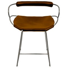 Counter Stool with Backrest Old Silver Steel and Dark Brown Saddler Leather