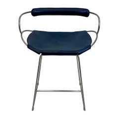 Kitchen Counter Stool with Backrest Old Silver Steel and Navy Saddle