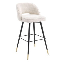 Counter Swivel Bar Stool in Bouclé Fabric Black Metal Feet and Brass Finishes