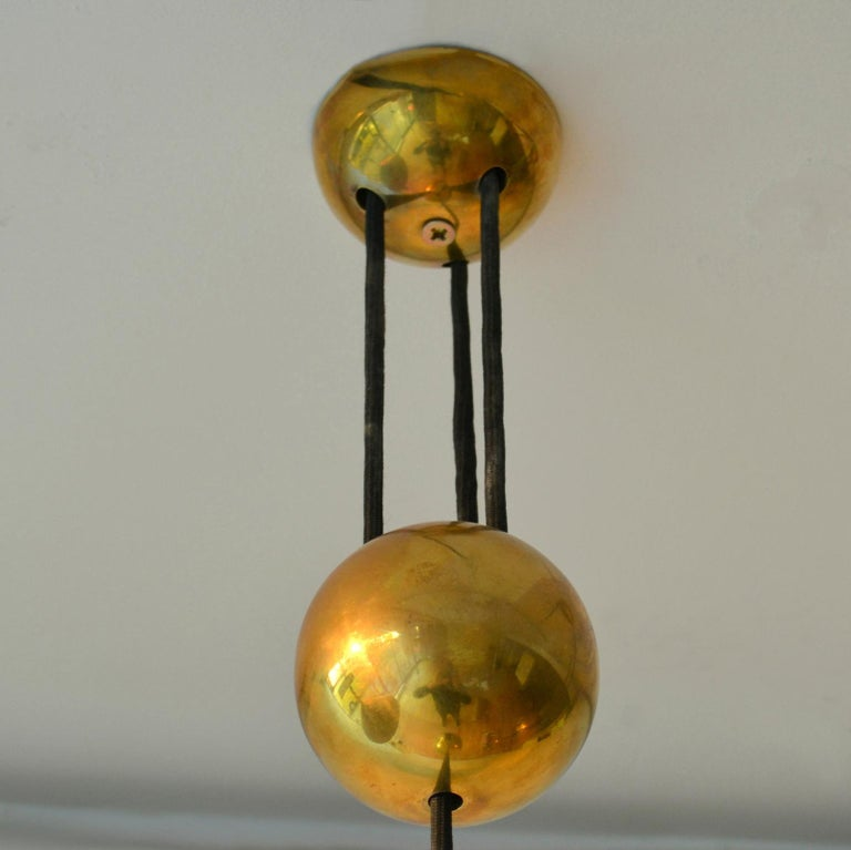 Mid-Century Modern Counterbalance Brass Pendant 'Posa' Centre Weight by Florian Schulz For Sale
