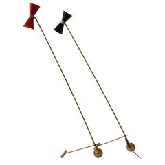 Counterbalance Solid Brass Floor Lamp, Two Lights Shade with Pivotting Head