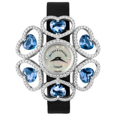 Countess Victoria London Blue Luxury Diamond Watch for Women, White Gold