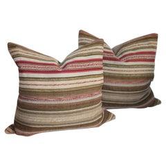 Country 19th Century Rag Rug Pillows, Pair