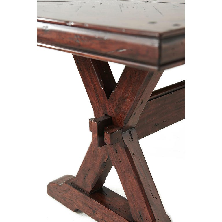 European Country Antiqued Wood Refectory Dining Table For Sale