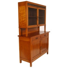 Country Art Nouveau 1900s Credenza with Display Cabinet Cherrywood Wax Polished