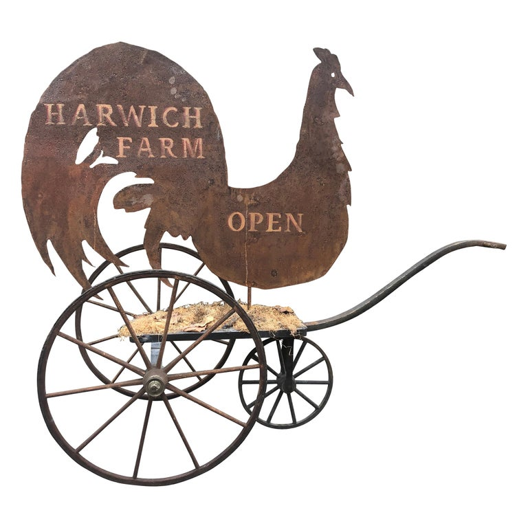 Country Charming Tin Harwich Farm Rooster Sign For Sale