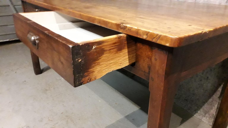 19th Century Country Elm and Cherry Refectory Table In Good Condition For Sale In Cranbrook, Kent