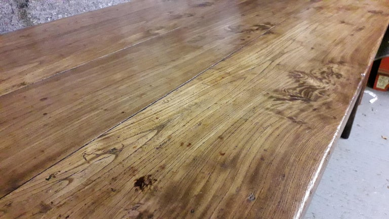 19th Century Country Elm and Cherry Refectory Table For Sale 2