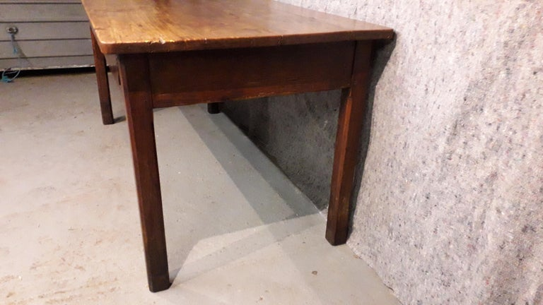 19th Century Country Elm and Cherry Refectory Table For Sale 3
