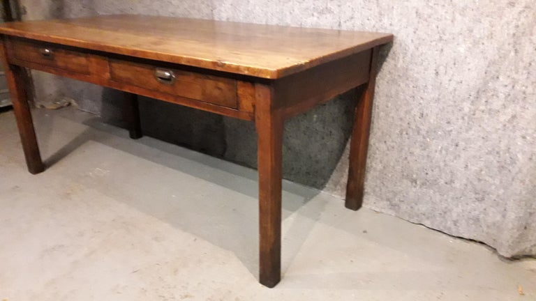19th Century Country Elm and Cherry Refectory Table For Sale 4