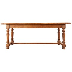 Country English Farmhouse Oak Trestle Dining Table