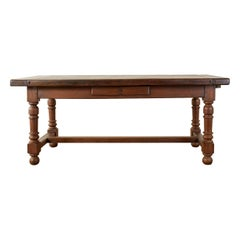 Country English Farmhouse Trestle Style Oak Dining Table
