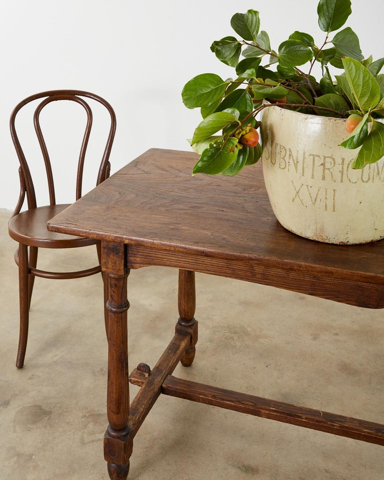 Country English Provincial Oak Farmhouse Trestle Dining Table For Sale 9