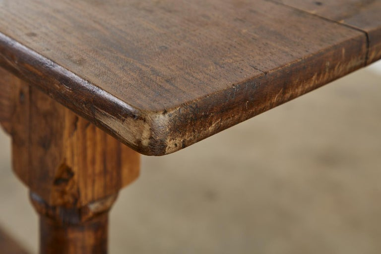 Country English Provincial Oak Farmhouse Trestle Dining Table For Sale 12