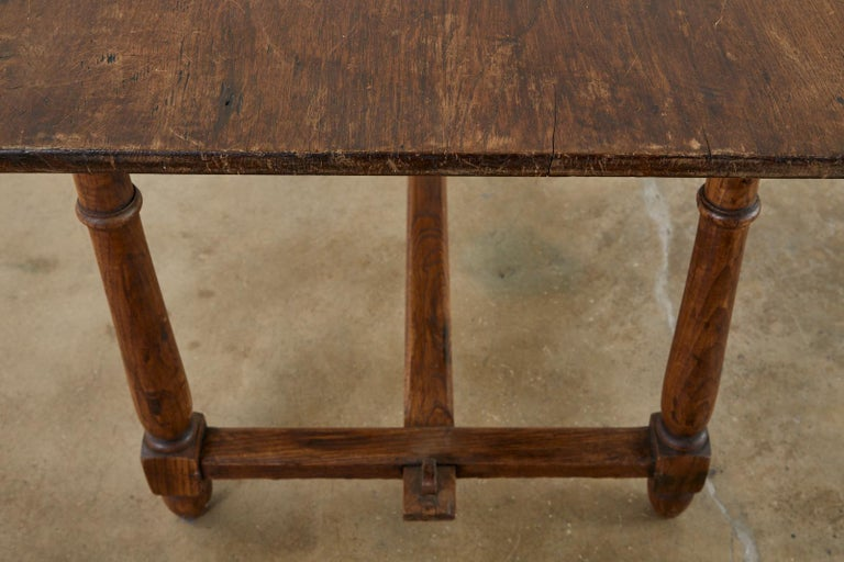 Country English Provincial Oak Farmhouse Trestle Dining Table For Sale 14