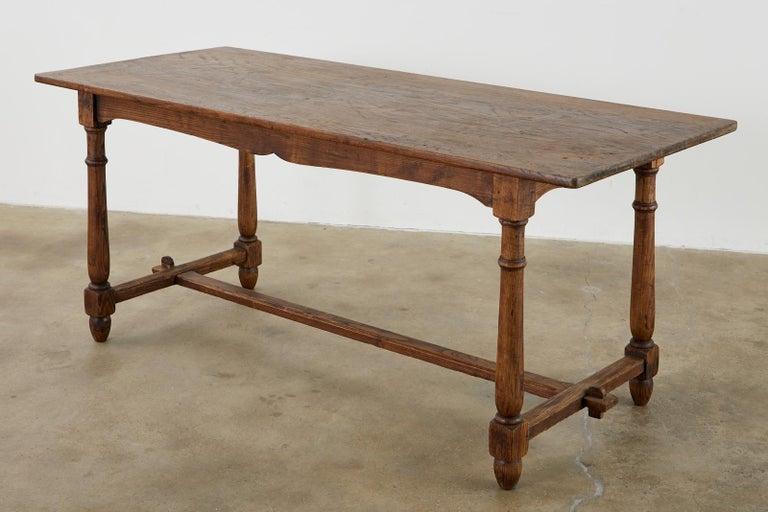 European Country English Provincial Oak Farmhouse Trestle Dining Table For Sale